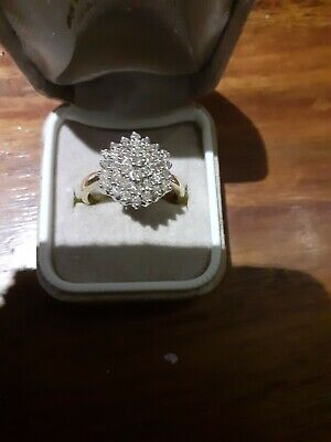 £114 • Buy 1ct Diamond Cluster 9k Two Tone Yellow And White Gold Gold Ring Size S