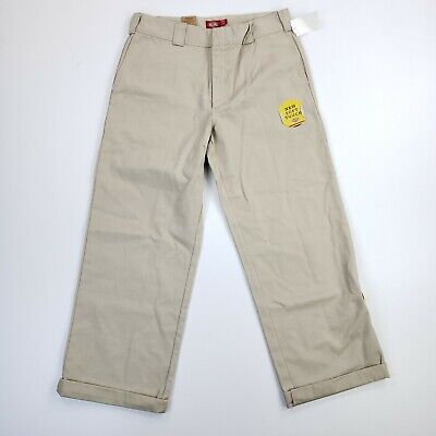 £3.63 • Buy NEW Dickies Juniors 13/31 Cropped Work Beige Girls Pants High Rise Relaxed Fit