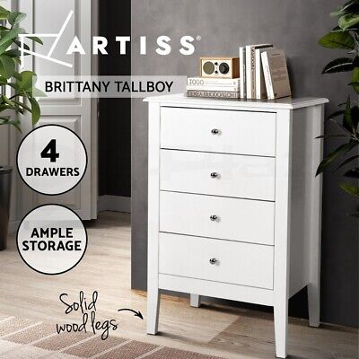 AU183.95 • Buy Artiss 4 Chest Of Drawers Tallboy Storage Cabinet Bedside Table Dresser White