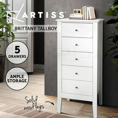 AU189.95 • Buy Artiss 5 Tallboy Chest Of Drawers Storage Cabinet Bedside Table Dresser White