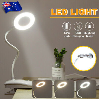 AU19.95 • Buy LED Desk Lamp Study Reading Clip On Table Bedside Lamp Lighting Rechargeable USB
