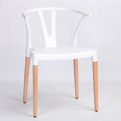 £26.99 • Buy Seconds White Wishbone Scandinavian Modern Plastic Dining Chair With Wooden Legs