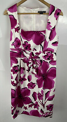 £12.99 • Buy Jessica Howard 12 Purple White Floral Flower Pencil Dress Fabric Bow Tie Front