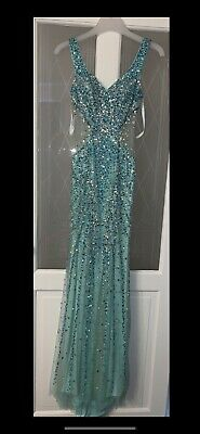 £300 • Buy Envious Couture Karishma Creations Turquoise Sparkly Prom Pageant Dress 00 4 6