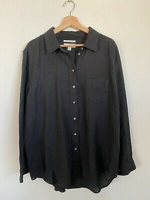 AU26 • Buy Country Road French Linen Black Shirt Size 16