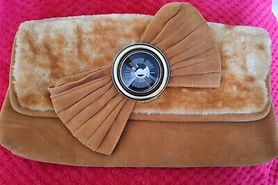 £3.99 • Buy FAB QUIRKY RETRO Large Brown Faux Fur / Suede Bow Clutch Bag - Exc Cond