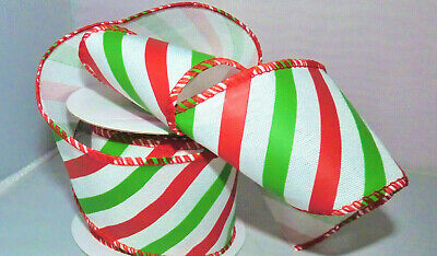£2.45 • Buy 1m Wired Christmas Candy Stripe Glitter Ribbon  63mm # Craft/wreath