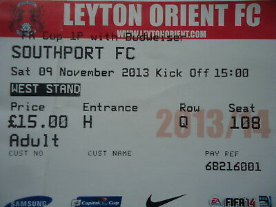 £1.36 • Buy TICKET England FA Cup 9.11.2013 Leyton Orient - Southport FC
