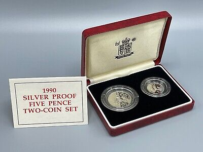 £4.20 • Buy 1990 Silver Proof 5p 2 Two Coin Set Royal Mint Box And COA 5 Pence