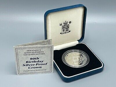 £6 • Buy 1990 Silver Proof £5 Crown Queen Mother 90th Birthday RM Box And COA 5 Pound