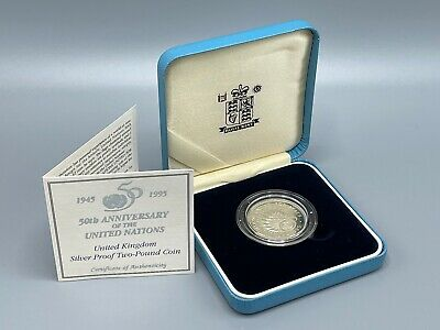 £3.20 • Buy 1995 Silver Proof £2 United Nations 50th Coin Royal Mint Box And COA 2 Pound