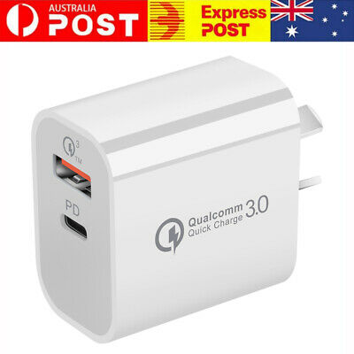 AU9.59 • Buy Plug PD 18W USB-C Type C Fast Wall Charger Adapter For IPhone 12 11 Android