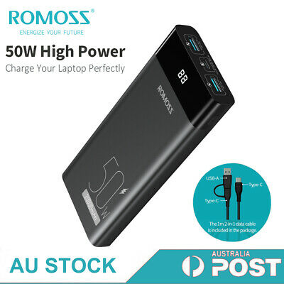 AU29 • Buy ROMOSS Power Bank 20000mAh 2-Way USB-C 50W PD QC3.0 Fast Charge Laptop Charger