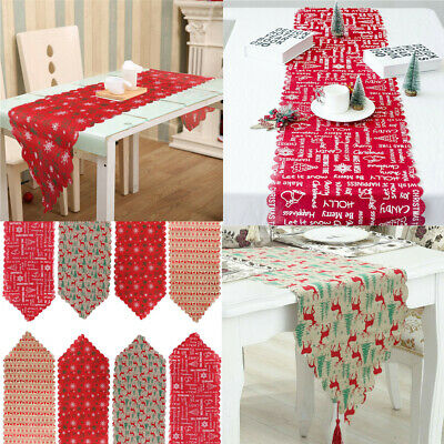 £4.93 • Buy 180cm Christmas Table Runner Table Flag Cloth Cover Xmas Dining Home Party Decor