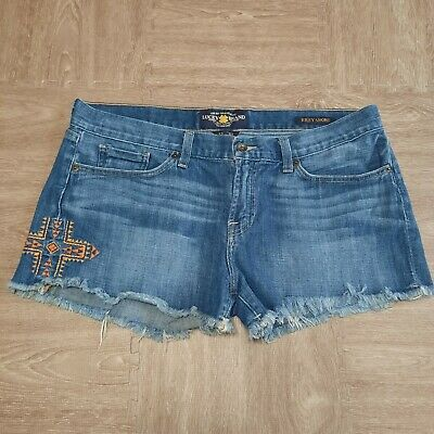 £14.54 • Buy Lucky Brand Riley Shorts Embroidered Aztec Cross Cut Off Denim Womens Size 12/31