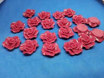 £1.10 • Buy 20 Rose Flower Acrylic Cabochon 29mm Flat Back For Craft & Jewellery Making