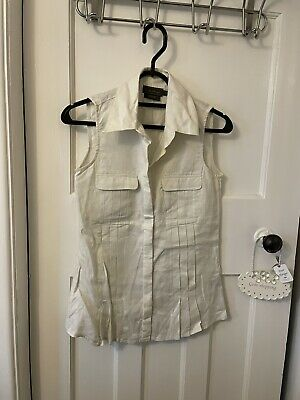 £0.99 • Buy Linen Sleeveless Pleated Fitted Top Shirt Blouse Size 8