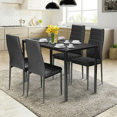 AU249.95 • Buy Wooden Dining Table Set With 4 Faux Leather Chairs Seat Kitchen Furniture
