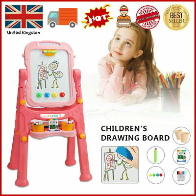 £21.99 • Buy Pink Folding Double Sided Magnetic Drawing Board Easel With Colour Chalk Eraser