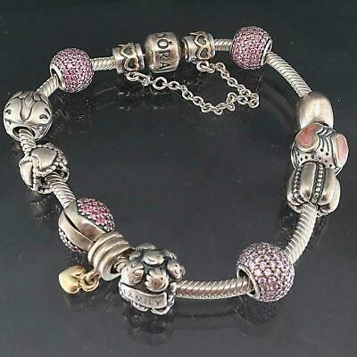 AU195 • Buy Original Solid Sterling Silver PANDORA CHARM BRACELET With 12 Beads / Charms