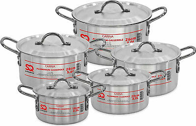 £49.99 • Buy Alluminium Stock Pots Cooking Boiling Pans Deep Catering Stockpots Casserole 5pc