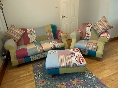 £250 • Buy DFS Three Piece Patchwork Suite - Two Seater Sofa, Armchair, Footstool, Cushions