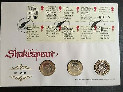 £15 • Buy 2016 FDC - PNC - SHAKESPEARE COIN FIRST DAY COVER - 3x £2.00 COINS - (LA1)