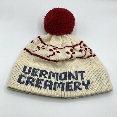 AU27.59 • Buy Vermont Creamery Spell Out Wool Beanie Winter Knit Hat Pom Made In USA Stowe