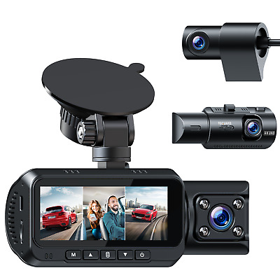 AU188.99 • Buy 4K 3Channel WIFI Dash Cam Car Camera Front And Rear Inside GPS Night Vision Dual