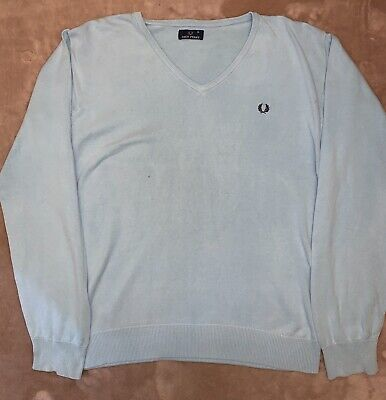£9.99 • Buy Fred Perry V Neck Jumper. Mens. Size XL. Wool. Light Blue.