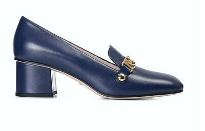 AU566.14 • Buy Gucci Shoes Sylvie Blue Leather Gold Chain Red Web Block Mid🔥 EU 37 UK 4 🔥