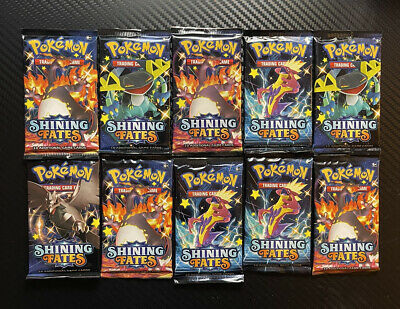 $40 • Buy 10x Shining Fates Booster Pack Lot Factory Sealed From Box Pokemon Cards