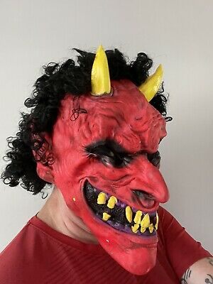 £12.99 • Buy Devil Halloween Latex Face Mask With Hair