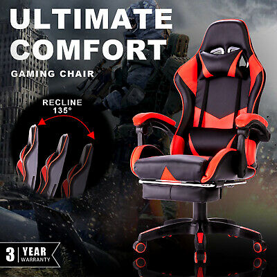 AU129.90 • Buy Executive Office Chair Computer Gaming Racer Recliner PU Seating W/ Footrest Red