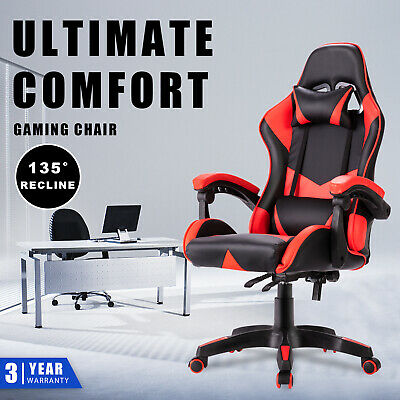 AU119.90 • Buy Gaming Chair Racer Computer Executive Office Chairs Recliner Seat PU Leather Red