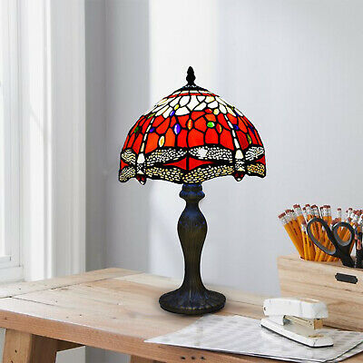 £77.99 • Buy Tiffany Style Table Lamp Stained Glass Handcrafted Bedside Light Desk Lamps UK