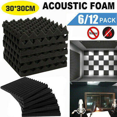 £8.69 • Buy 12/6Pcs Acoustic Wall Panel Tiles Studio Sound Proofing Insulation Foam Pads
