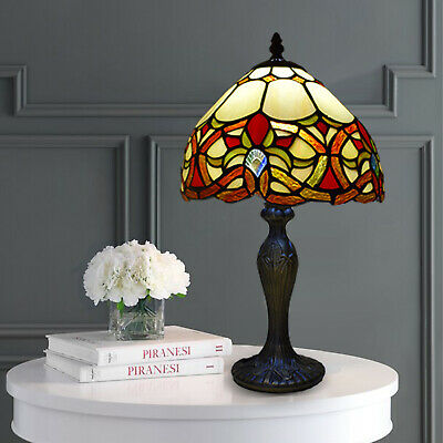 £85.90 • Buy Tiffany Style Table Lamp Stained Glass Handcrafted Bedside Light Desk Lamps UK