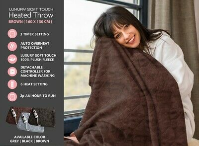 £39.95 • Buy Electric Heated Throw Over Blanket Soft Fleece Washable Black Brown Grey,  Timer