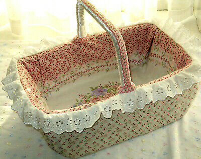 £34.95 • Buy Vintage Wicker Basket Frilly Trim Floral Lined Hand Crafted Country Kitchen