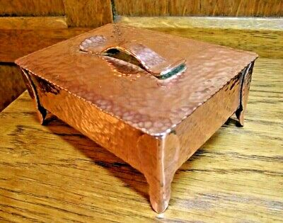 £145 • Buy Arts And Crafts Copper Box - Antique Copper Planished Box Weighs 545 Grams !