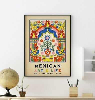 £11.99 • Buy Mexican Art Poster, Mexican Print, Exhibition Art, Floral Wall Art Decor