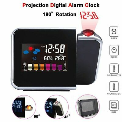 £10.99 • Buy LCD Digital LED Projector Projection Weather Station Calendar Snooze Alarm Clock
