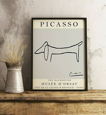 £11.99 • Buy Picasso Poster, Picasso Print, Grey Dog, Line Art Print, Floral Wall Art Decor