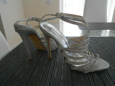 £12.50 • Buy WEDDING SANDALS - Size 5 Wide Fit - SILVER - High Heel - Worn Once - Immaculate