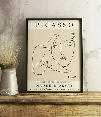 £13.99 • Buy Picasso Poster, Picasso Print, Beige Face Dove, Line Art Print, Wall Art Decor