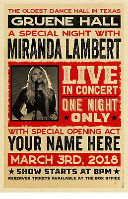 $20 • Buy Your Name On A Personalized COUNTRY MUSIC Concert Poster With MIRANDA LAMBERT