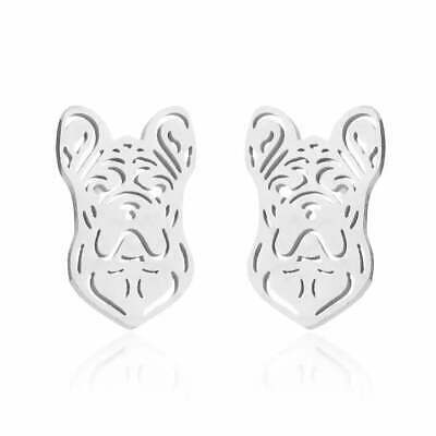 £4.99 • Buy French Bulldog Silver Stainless Steel Earrings Dog Stud Jewellery Christmas Gift