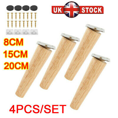 £11.99 • Buy 4x Wooden Furniture Legs Tapered Feet For Sofa Table Chair Stool 8-25cm M8 UK