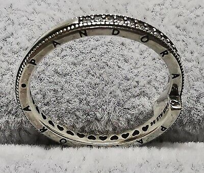 AU32.99 • Buy Pandora Ring Silver 199491C01 Sparkling Overlapping Size 56 S925 ALE